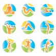 Colorful icons yoga fitness — Stock Vector #25021259