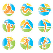 Colorful icons yoga fitness — Stock Vector