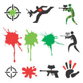 Paintball icons design elements — Stock Vector