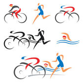 Triathlon cycling fitness icons — Stock Vector
