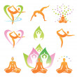 Yoga icons symbols — Stock Vector
