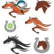Horse racing icons symbols — Stock Vector