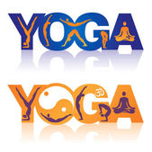 Word Yoga with Yoga positions icons — Stock Vector