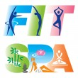 Fitness Spa Sign Icons — Stock Vector