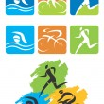Triathlon icons buttons — Stock Vector
