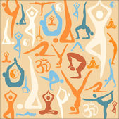 Yoga silhouette icons pattern background — Stock Vector
