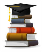 Books with the graduation cap — Stock Vector