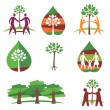 People and trees colorful icons — Stock Vector