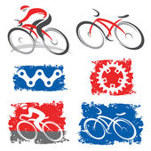 Cyclists and cycling elements icons — Vettoriale Stock