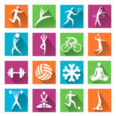 Sport and fitness colorful icons — Stock Vector