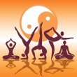 Yoga positions silhouettes — Stock Vector