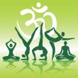 Yoga positions silhouettes on green background — Stock Vector