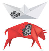 Origami Boat and Bull with Gears — Stock Vector