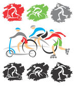 On the bike path icons — Stock Vector