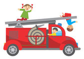 512Fire truck and children — 图库矢量图片