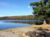 Fall colors surround a small lake. — Stock Photo