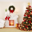 A decorate living room at Christmas Time with fireplace, firtree — Stock Photo