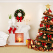 A decorate living room at Christmas Time with fireplace, firtree — Stock Photo #37724053