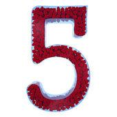 5 mavi camdan sayısı. bir velve gelen kırmızı kalpler ile dolu — Stockfoto