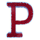 Letter of P from blue glass. Filled with red hearts from a velve — Stock Photo