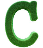 C 从绿草的信。一株小草的字母表。孤立 — 图库照片