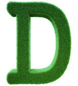Letter of D from a green grass. Alphabet from a grass. Isolated — Stock Photo