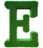 Letter of E from a green grass. Alphabet from a grass. Isolated — Stock Photo