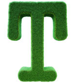 Letter of T from a green grass. Alphabet from a grass. Isolated  — Stock Photo
