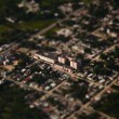Tilt-shift miniature effect of bird eye view of buildings — Stock Photo
