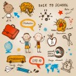 Hand-drawn children set. Back to school illustration. — Imagen vectorial