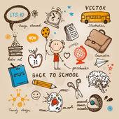Insieme di bambini disegnati a mano. torna a illustrazione di scuola. — Vettoriale Stock