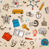 Handgezeichnete kinder festgelegt. zurück zu schule-abbildung. — Stockvektor