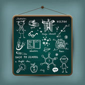 Hand-drawn children set. Back to school illustration. — Wektor stockowy