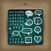 Hand-drawn children set. Back to school illustration. — Stock vektor