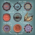 Decorative Nautical Set — Stock Vector #12479855