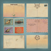 Archiwalne pocztówki i znaczki pocztowe — Wektor stockowy