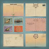 Vintage cartes postales et timbres postaux — Vecteur