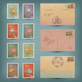 Vintage cartões postais e selos — Vetorial Stock
