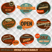 Vintage Style Speech Bubbles Cards — Stock Vector