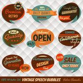 Vintage styl řeči bubliny karty — Stock vektor