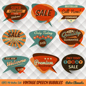 Cartões de bolhas de discurso estilo vintage — Vetorial Stock