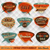 Vintage stijl spraak bubbels kaarten — Stockvector