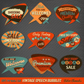 Vintage Style Speech Bubbles Cards — Vector de stock