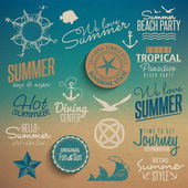 Summer vintage elements — Stock Vector