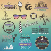 Summer vintage elements — Vector de stock