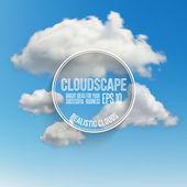 Vector blue sky with cloud closeup — Stock Vector