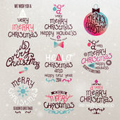 Christmas Greeting Card. Merry Christmas lettering — Stok Vektör