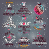 Christmas Greeting Card. Merry Christmas lettering — Vettoriale Stock