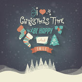 Christmas Greeting Card. Merry Christmas lettering — Stock vektor