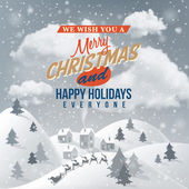 Christmas Greeting Card. Merry Christmas lettering. — Vettoriale Stock